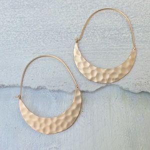 Anthropologie Crescent Hoop Hammered Earrings NEW